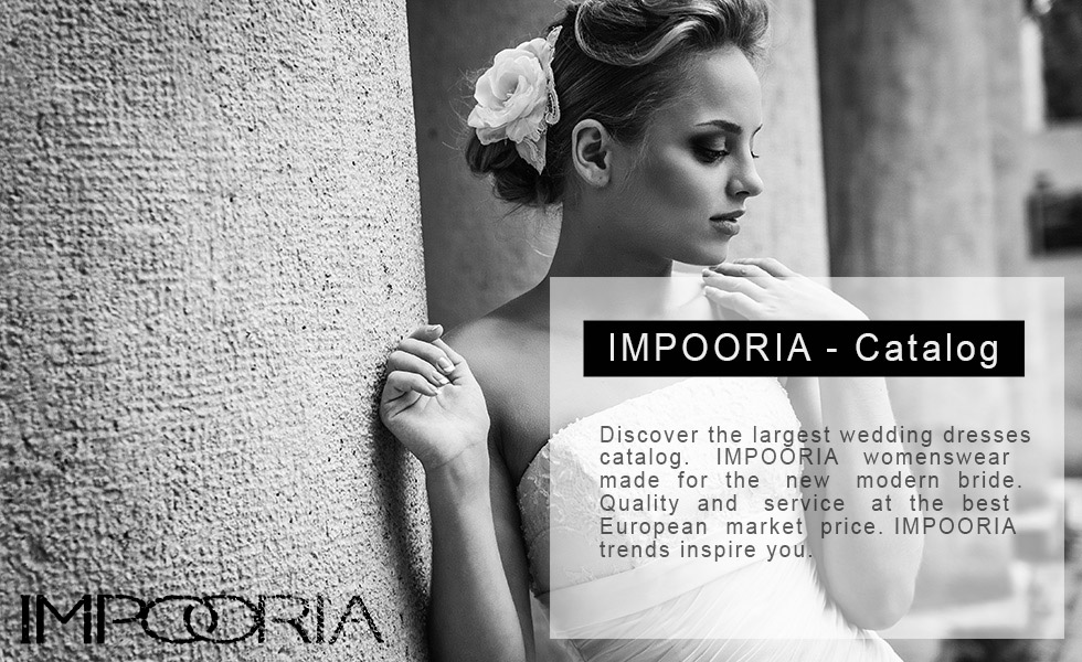 In this picture you see the highlights of the IMPOORIA wedding dresses catalogs. Discover bridal fashion for 2015 and the impressive variety of wedding dresses catalogs of the most popular German brand IMPOORIA.